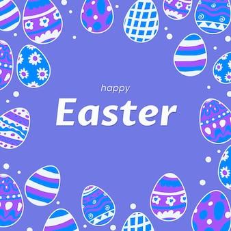 Нарисованная рукой пастельная монохромная пасхальная иллюстрация с яйцами