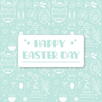 Hand drawn pastel monochrome easter illustration