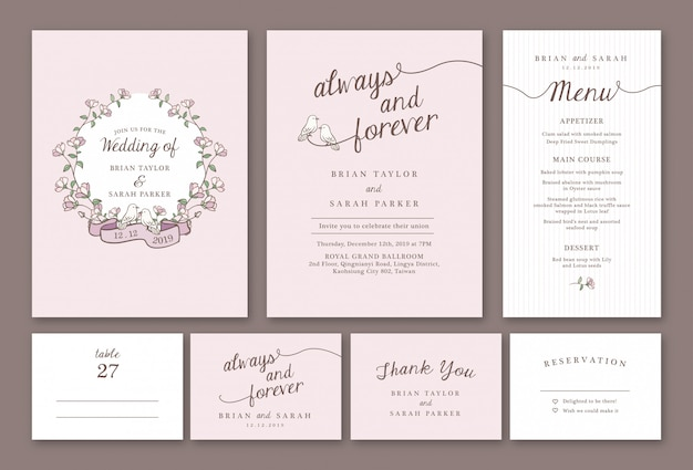 Hand drawn pastel pink floral wedding invitation template package
