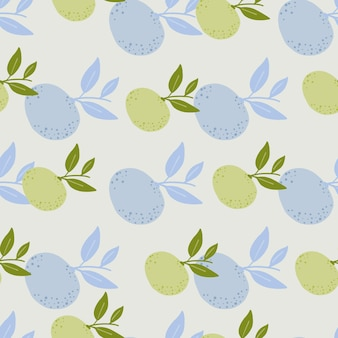 Hand drawn pastel tones fruit seamless pattern in hand dranw style