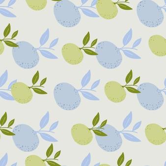 手描きのパステルトーンのフルーツのシームレスなパターンを手で描いたドローンスタイル