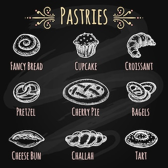 Hand drawn pastries on chalkboard