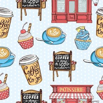 手描きのペストリーのシームレスなパターン。ヴィンテージペストリーショップ、紙のコーヒーカップ、カプチーノカップ、カップケーキ、レタリング付きの黒板。