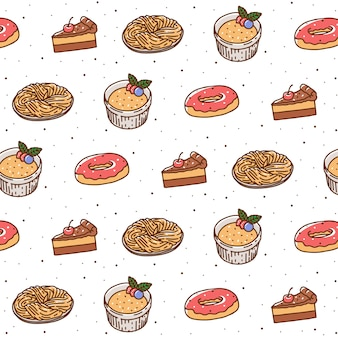Hand drawn pastry seamless pattern