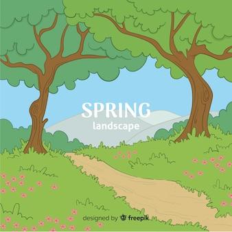 Hand drawn path spring background