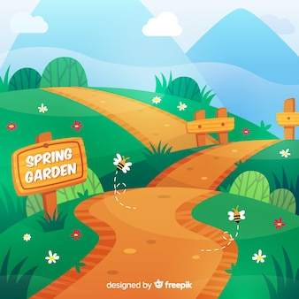 Hand drawn path spring background