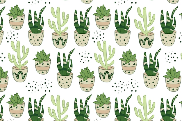 Hand drawn pattern cactus template
