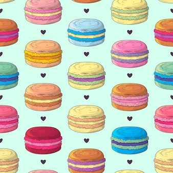 Hand drawn pattern french dessert macaroons