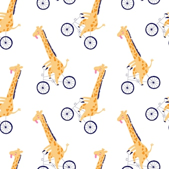Hand-drawn pattern, funny yellow giraffes race on a bicycle.