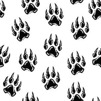ヴィンテージの足の大きな猫の手描きパターン