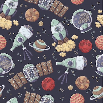 Hand drawn pattern of space elements collection