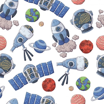Hand drawn pattern of space elements