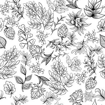 Hand drawn pattern with abstract scandinavian nature elements. vector set of plants and animals.