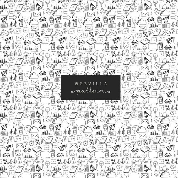 Hand drawn pattern with business elements