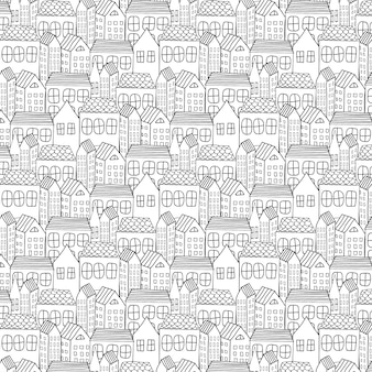 Hand drawn pattern with city background