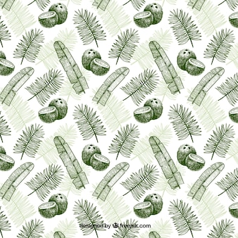 Hand-drawn pattern with coconuts and palm leaves