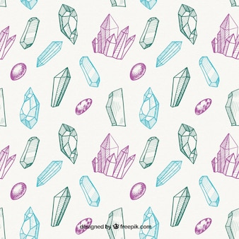 Hand-drawn pattern with cute precious stones