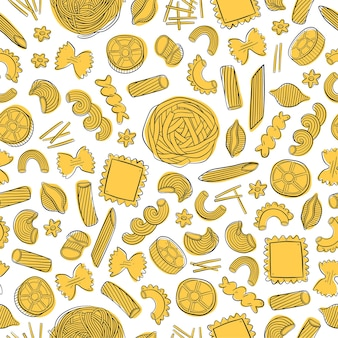 Hand drawn pattern with different types of italian pasta