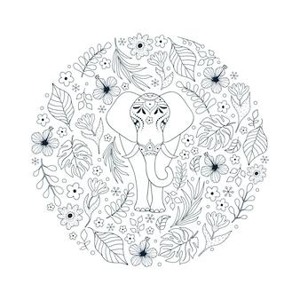 Ручной обращается узор со слоном и тропическими цветами на белом фоне