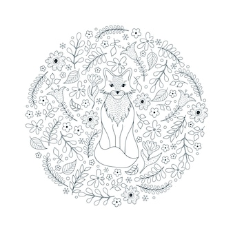 Hand drawn pattern with fox and flowers on white background