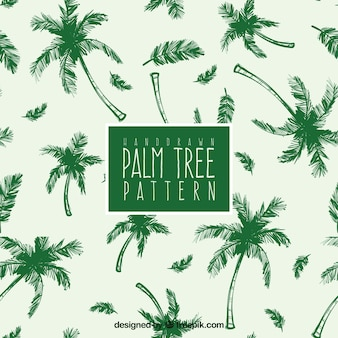 Hand-drawn pattern with green palm trees