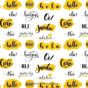 Hand drawn pattern with hello word in different languages