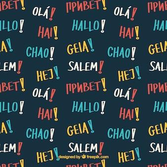 다른 언어로 안녕하세요 단어로 손으로 그린 패턴