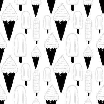 アイスクリームと手描きのパターン
