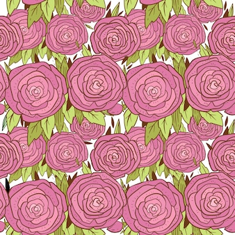 Hand drawn pattern with pretty pink roses.