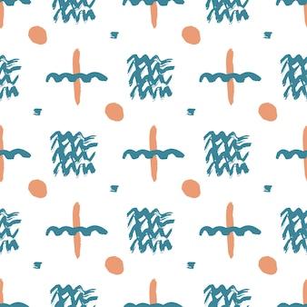 簡単なインク要素で手描きのパターン。ヒップスタースタイルのシームレスなテクスチャ