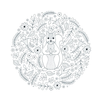 Hand drawn pattern with squirrel and flowers on white background