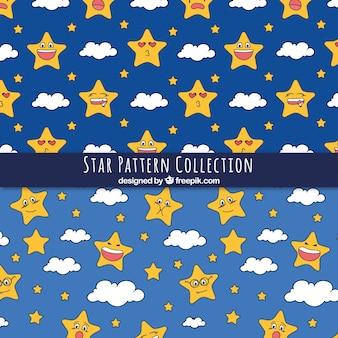 手で描かれた星のパターン