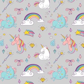 ユニコーンと虹の手描きパターン