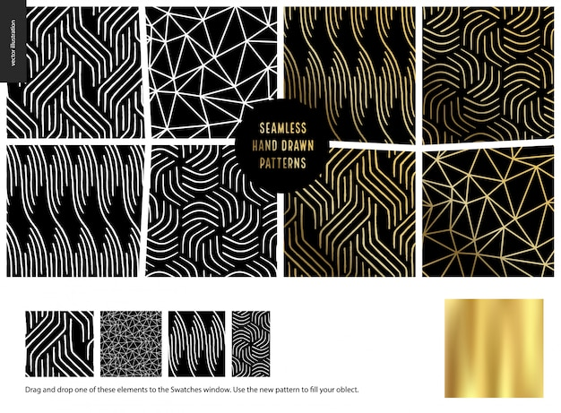 Hand drawn patterns - black