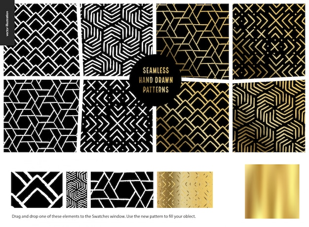 Hand drawn patterns, black