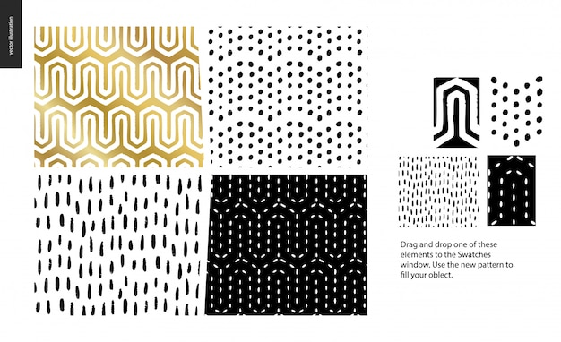 Hand drawn patterns - a group set of abstract seamless patterns