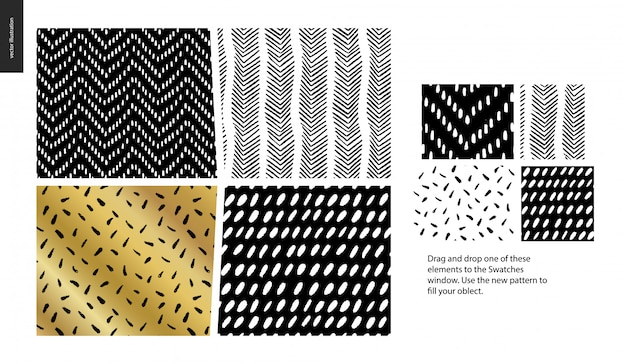 Hand drawn patterns - a group set of four abstract seamless patterns