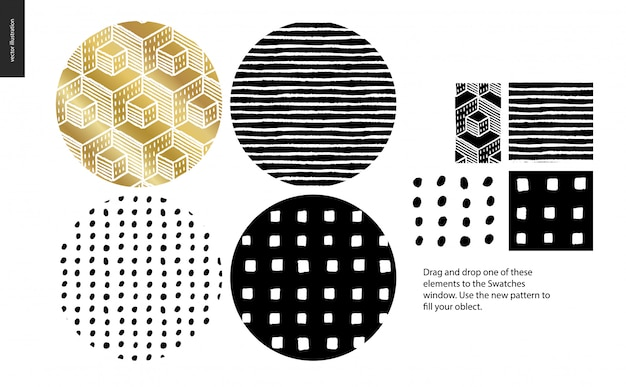 Hand drawn patterns - rounded