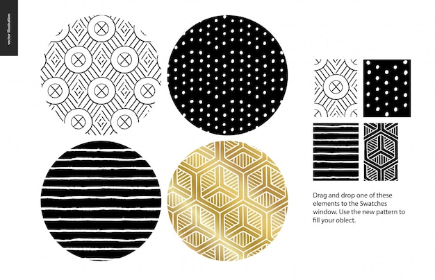 Hand drawn patterns, rounded