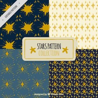 Hand-drawn patterns with golden stars