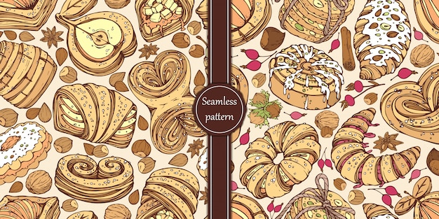 Hand-drawn patterns with sweet buns, nuts, berries and spices.