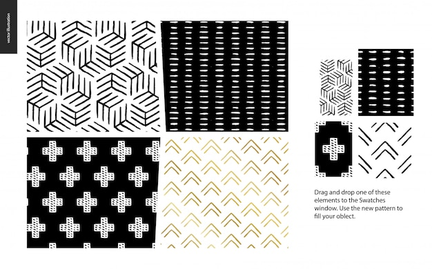 Hand drawn patterns with thea group set