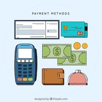 Elementi di pagamento disegnati a mano