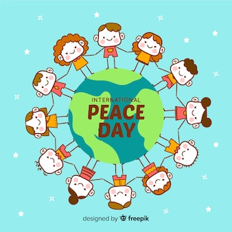 Hand drawn peace day background with children