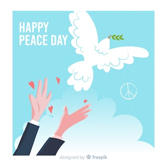 Hand drawn peace day background with dove