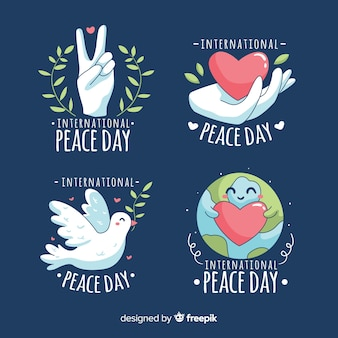 Hand-drawn peace day badge collection