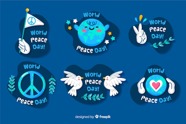 Hand drawn peace day badge collection