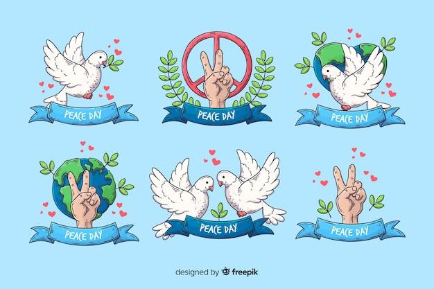 Нарисованная рукой коллекция значка дня мира