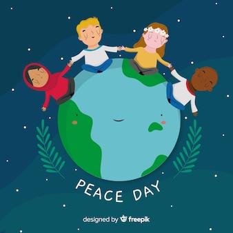 Hand drawn peace day children around the world