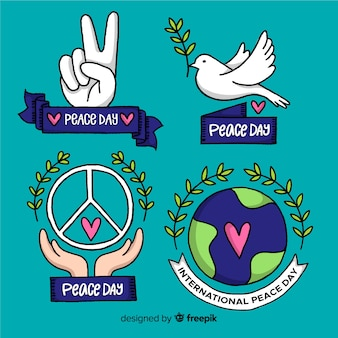 Hand drawn peace day collection
